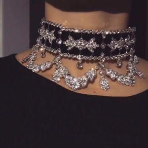 KMVEXO Big Maxi Statement Necklace for Women 2020 Rhinestone Necklace Flower Ribbon Collar Choker Luxury Bijoux Jewelry