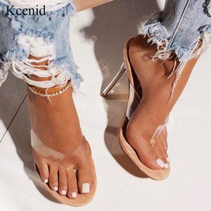 Kcenid Summer fashion transparent PVC flip flip flop green serpentine sexy high heels crystal party slippers shoes size 42 201007