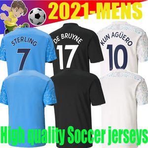 2021Top los aficionados al fútbol de calidad hombres de la camisa del fútbol parche Jersey City KUN AGUERO Gesus BERNARDO mahrez De Bruyne SANE RODRIGO maillot de pie.