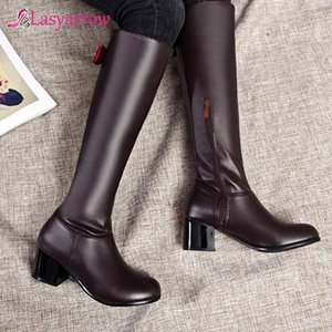 Lasyarrow 2020 new arrival knee high boots women round toe bowtie autumn winter riding boots high heels casual shoes female
