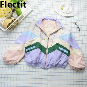 Flectit Donne Bomber Jacket caldo con spessore trapuntato fodera pastello Windbreaker ragazze giapponesi Harajuku Style * 201022