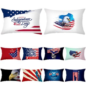 Pillow Home American Independence Day Waist Case Peach Skin Pillow Case Office Cushion Cover