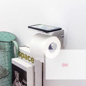 Cuarto de baño Toalla Toalla Pable Teléfono Teléfono Montaje de Pared WC Rolhouder Papel Holder con estante Toalla Rack Cajas de tejido HWF4855