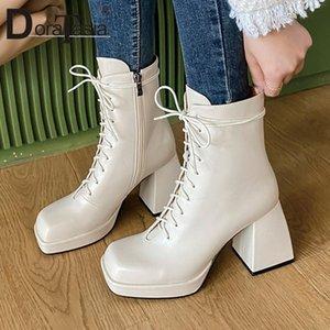 Doratasia große größe 34-43 weibliche dicke high heels knöchel stiefel herbst schnelle zip boots frauen quadratische zehe plattform schuhe frau