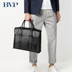 HBPBVP 유명한 브랜드 고품질 암소 14 인치 노트북 남자 서류 가방 비즈니스 정품 가죽 레저 남자 크로스 바디 가방 J50 Q0112