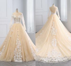 2021 Princess Wedding Dresses Champagne Lace Ivory 3D Flowers Floral Applique V Open Back Poet Long Sleeves Bridal Dress Women Plus Size