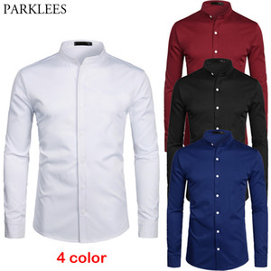 White Banded Collar Dress Shirt Men Slim Fit Long Sleeve Casual Button Down Shirts Mens Business Office Work Chemise Homme S-2XL 201021