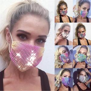 23 Цвета Алмазная маска Красочные Mesh Маски Bling Алмазная маска партии Rhinestone Сетка Чистая Маска моющийся Sexy полые маски BWE2125