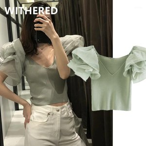 Withered 2020 ins Moda Blogger High Street Gaze SplCing Malha Sexy Short Soreers Mulheres Puxe Femme Pullovers Colheita Tops1