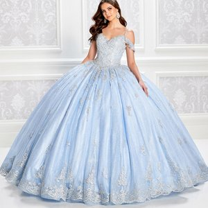 Sky Blue Quinceanera Dresses Spaghetti Straps Beads Sparkly Glitter Appliqued Off Shoulder Ball Gowns Prom Dresses Lace-up Sweet 16 Gowns