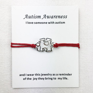 Awareness Autism Charms Cuff Multilayer Red Wax Rope Bracelets Antique Silver Plated Women Men Unisex With Card Bracelet Jewelry