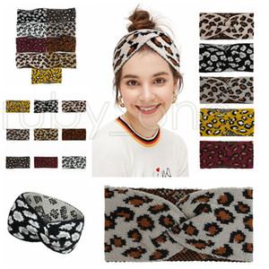 Femmes Leopard tricoté Bandeau Mode Criss Cross Band cheveux Hiver chaud laine à tricoter Couvre-chef Casual Party Favor 9styles RRA3651