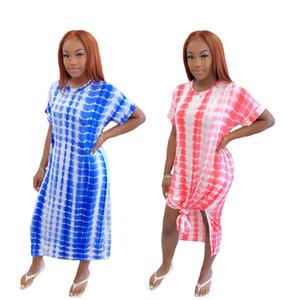 Womens Designer de luxe Robe d'été à manches courtes cou Robes Casual Plaid lambrissé Fashion Robe ample