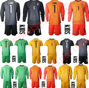2020 Франция Молодежь с длинным рукавом 1 Hugo Lloris Vogie Funcer Jersey Set Kids Hearteker GK 16 STEVE MANDANDA Детская футбольная футболка для футболки