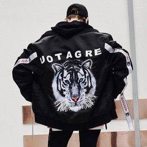 Мужские куртки Tiger Print куртка мужчины Hiphop бейсбольный воротник черный цвет осень зимняя уличная одежда XXL1