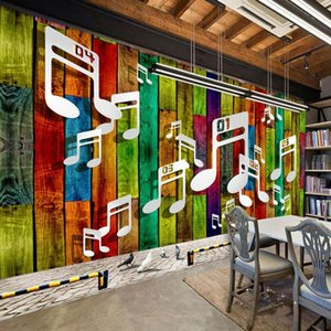 Drop Shipping Custom Mural Color Restoring Ancient Ways Wood Staff Notes Striped Background Wall Custom Mural Bedroom Wallpaper