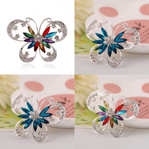 Women Butterfly Blue Brooch Classic Crystal Brooches for Women 51 O2