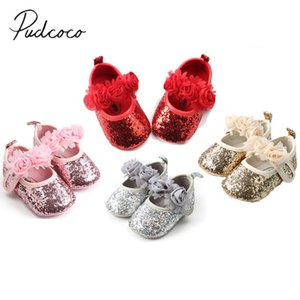 2020 Brand New Newborn Toddler Infant Baby Girls Sequin Flowers Crib Shoes Pram Prewalker Anti-slip Sneakers Floral Cute Shoes