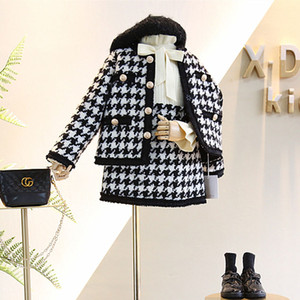 2020 Autumn New Arrival Girls Fashion Houndstooth 2 Pieces Suit Coat+skirt Kids Tweed Sets Girls Clothes