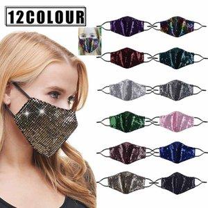 Mascherina di modo di Bling Bling Paillettes di protezione per adulti bambini PM2.5 antipolvere Bocca Maschere riutilizzabile lavabile Donne maschera di protezione e bambini HH9-3572