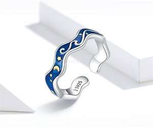 Sterling Silver 925 Lover Rings for Couple Blue Starry Sky Open Finger Ring Design Jewelry Accessories