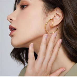 Hangzhi golden spiral twiste geometric deformation irregular curve clip-on earrings suitable for girls without pierced ears