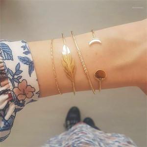 Umka clássico 4 pcs / conjunto de pulseiras de cristal de folha feminina Bangles1