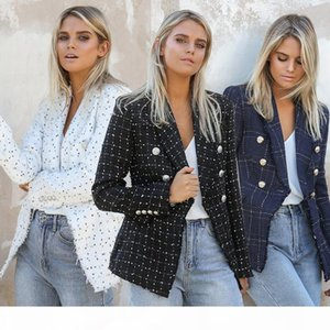 Designer Women Blazers Autumn Slim Lapel Neck Long Sleeve Double Breasted Ladies Blazers Casual Striped Printed Female Clothes