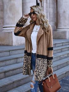 Neck куртки осень зима с длинным рукавом Верхняя одежда Мода Леопардовый Щитовые женщин кардигана пальто женские Дизайнер отворотом