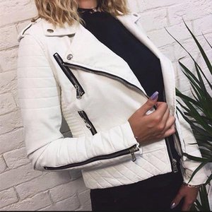 Womens Leather Jacket Motorcycle Autumn Long Sleeve Zipper Soft Faux Leather Jackets White Ladies Female Coats Outerwear