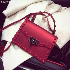 AIMIYOUNG Frauen Handtaschen Jelly Schultertasche nieten Umhängetaschen für Frauen Messenger Bolsa Feminina Bolsos Mujer