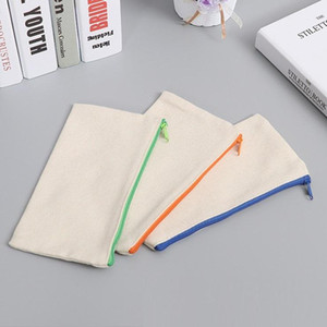 High Quality Blank can draw Canvas Zipper Pencil Case School Office Supplies torage bag Canvas pencil bag