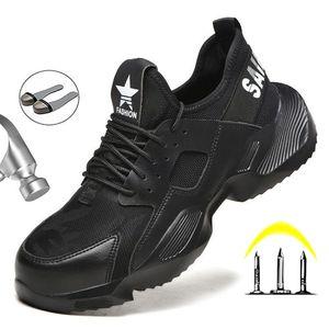 Manlegu New Work TRABAJO ZAPATOS DE SEGURIDAD InDestructible Zapatos de seguridad para hombre Zapatillas de invierno para hombre Zapatos transpirables Boot de seguridad de punta de acero LJ200918