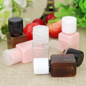 wholesale 10ml clear brown pink square cosmetic plastic pet shower gel travel hotel bottle flip top 200pcs lot free shipping