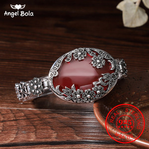 Sterling Real Natural Red Stone 925 Vintage Oval Flowers Bracelet Garnet S925 Thai Silver Bangles for Women Jewelry