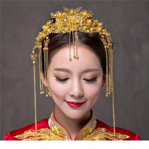 Chinese Classical Wedding Hair Accessories Bridal Costume Headdress Frontlet Coronet Hairpins Brides Headbans Hair Sticks Combs X912