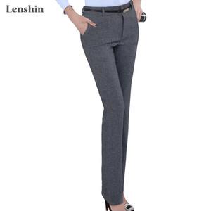 Lenshin Plus Size Formal Adjustable Pants for Women Office Lady Style Work Wear Straight Belt Loop Trousers Business Design 201103