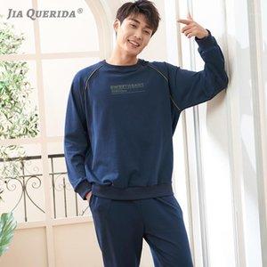 Royal Blue Luxury Homme Sleepwear Plus Taille 100% coton Pijama Pijama Hombre Pull-Sportif Heightwear peut être porté Pajamas de mode en plein air1