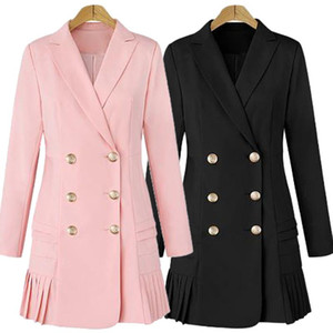 Dress Suits For Women Long Blazer Jacket Runway Double Breasted Office Ladies Elegant Pleated Mini Dress Plus Size XXXL