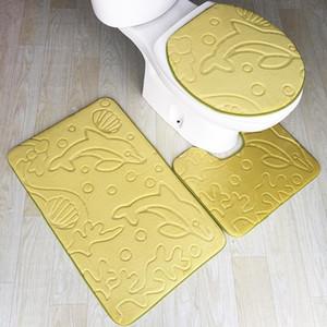 Zeegle 3pcs Bath Mat Dolphin Embossed Bathroom Rug Non-slip Bathtub Mat Bathroom Floor Mats Toilet Carpet Bath Rugs