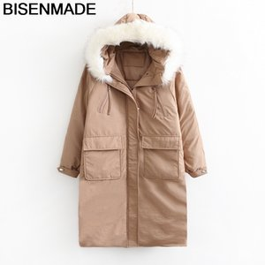Bisenmade Oversize Women's Parkas Winter Warm New 2020 Loose Fur Collar Hooded Padded Jacket Long Big Pocket Down Cotton Coat