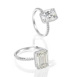 Classic 925 Sterling Silver ring 8 * 11mm Rectangular emerald flower round bottom zircon ring diamond Jewellery