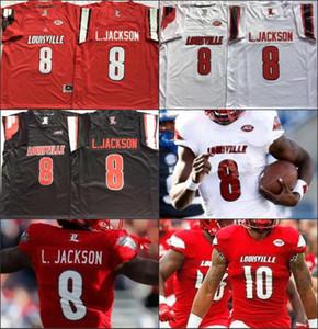 NCAA Louisville Cardinal 8 Lamar Johnson College Football mens costurado Jerseys vermelho branco preto Universidade camisas de futebol