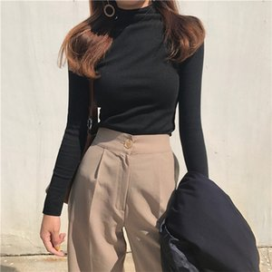 long sleeve Solid Turtleneck t-shirt women high stretch slim tops spring autumn skinny Basic Bottoming tshirt tight