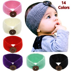 Fashion Girls New Baby Wool Crochet Headband Knit Hairband with Button Decor Winter Newborn Infant Ear Warmer Head Headwrap 14 Colors