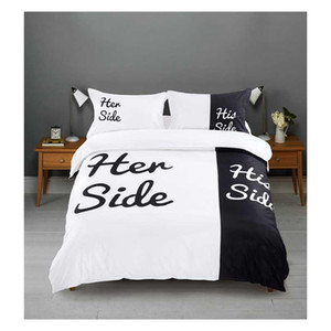Wholesale- Her Side his Side 3 4pcs Bedding Sets Couple Double Bed Black&white Bed Linen Couples Duvet Cover Set Qu jllPEk warmslove
