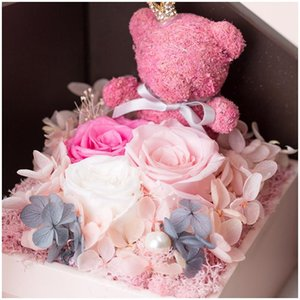 Valentine's Day Gift Birthday Wedding Mother'S Day Present Necklace Gift Box Artificial Rose Soap Eternal Flower Bouquet Gift For Guests