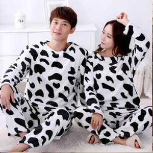 Unisex Couple Pajamas Winter With Hooded Thicken Warm Pyjama Sets Cow Print Round Neck Christmas Costumes Femme Home Clothes