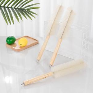 Japon Tarzı Ahşap Uzun Kolu Kayın Kupası Fırça Şişe Fırça Mutfak Malzemeleri Ev Fırça Kupası Temizleme Aracı EWD2062