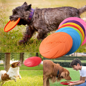 Flying Dog Disc Dog brinquedos macios de borracha flexível Flying Saucer Toy Dog Acessórios resistente Chew Supplies filhote de cachorro jogo-treino